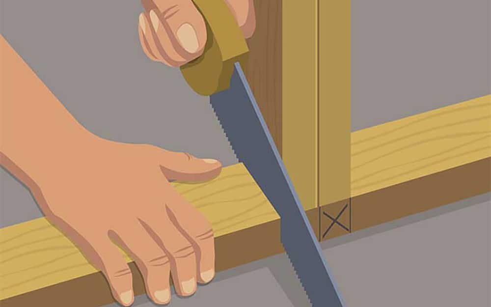illustration of a person using a saw to cut a portion of the sole plate