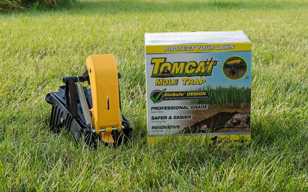 A mole trap and packaging displayed on a lawn.