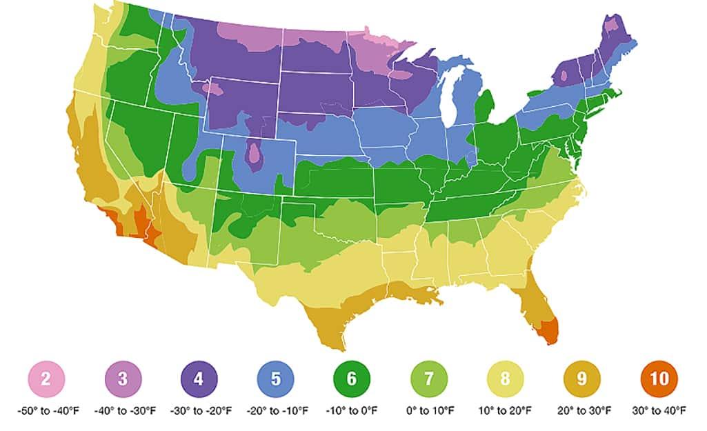 Map of the USDA Plant Hardiness Zones.