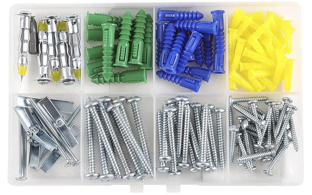 A picture hanging kit has screws and anchors in various sizes.
