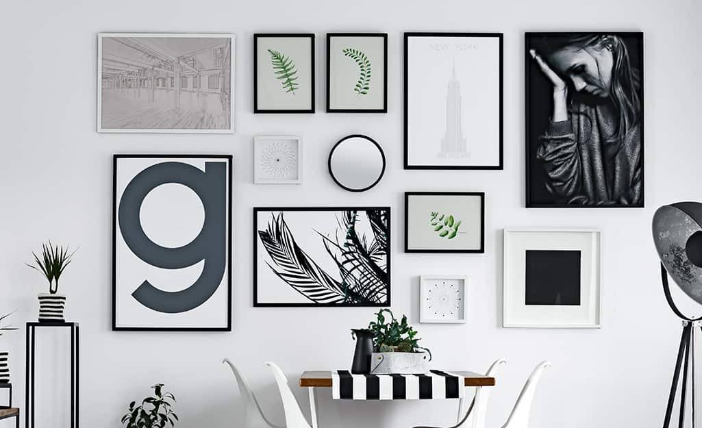 A group of pictures on a wall.