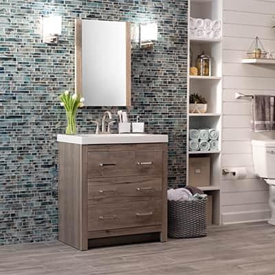 A bathroom vanity in bathroom.