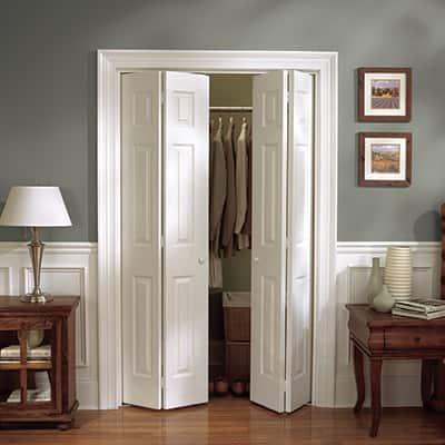 Bifold doors on a closet.