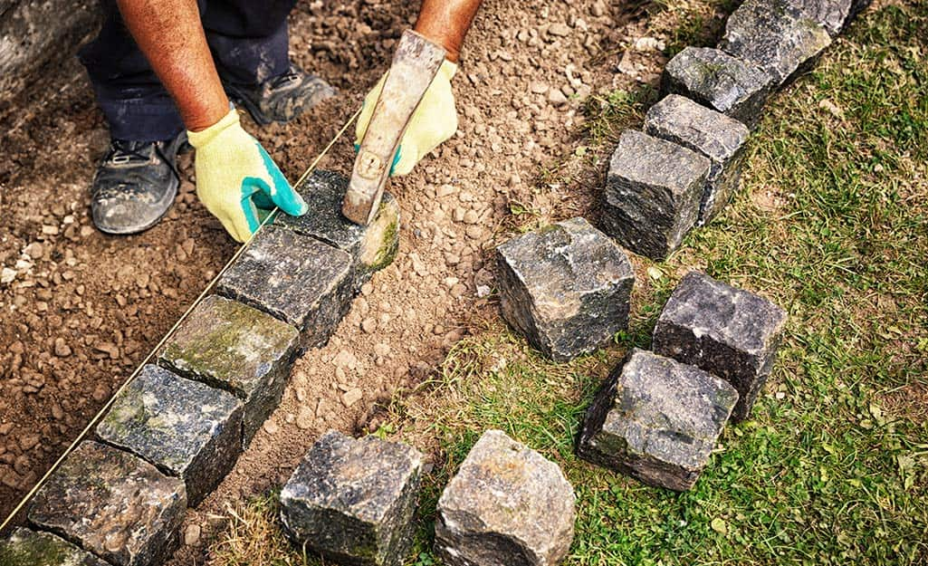 How To Install A Brick Paver Edge The, How To Lay A Stone Garden Edge