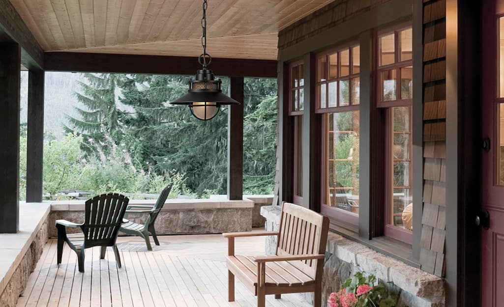 Pendant light hanging on a porch.