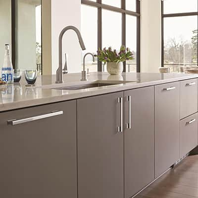 Modern gray kitchen cabinets.