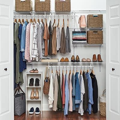 An installed ClosetMaid ShelfTrack closet storage system