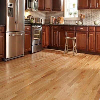 A hardwood floor in a kitchen.