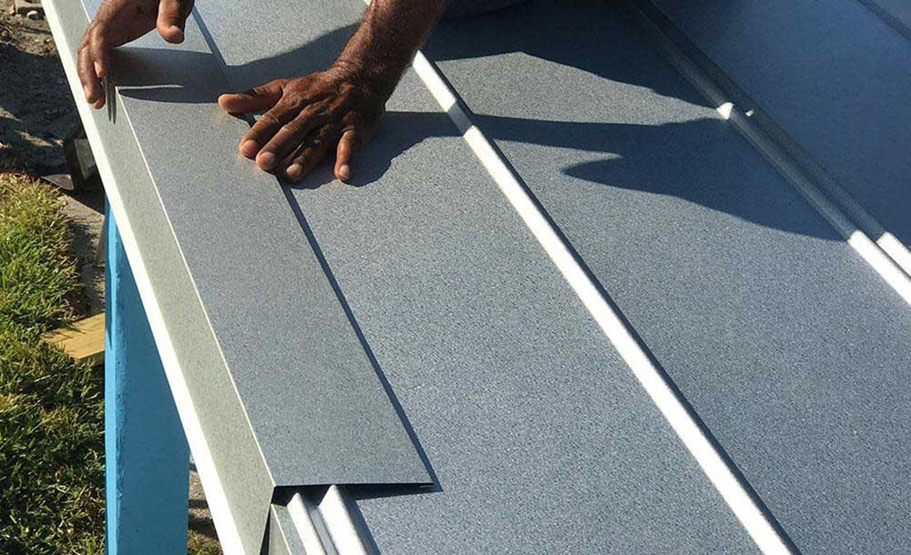 A drip-edge is installed on a roof.