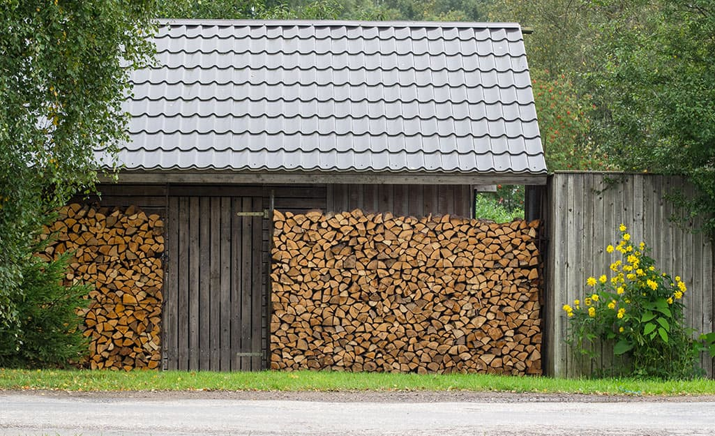 A work shed with a tin roof.