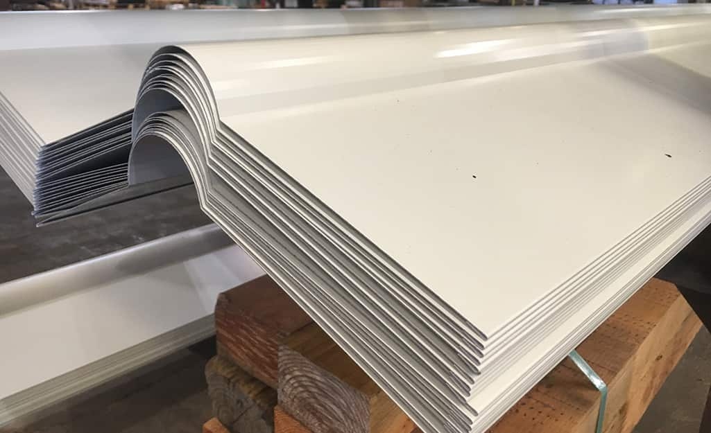 Multiples panels of zinc roofing.