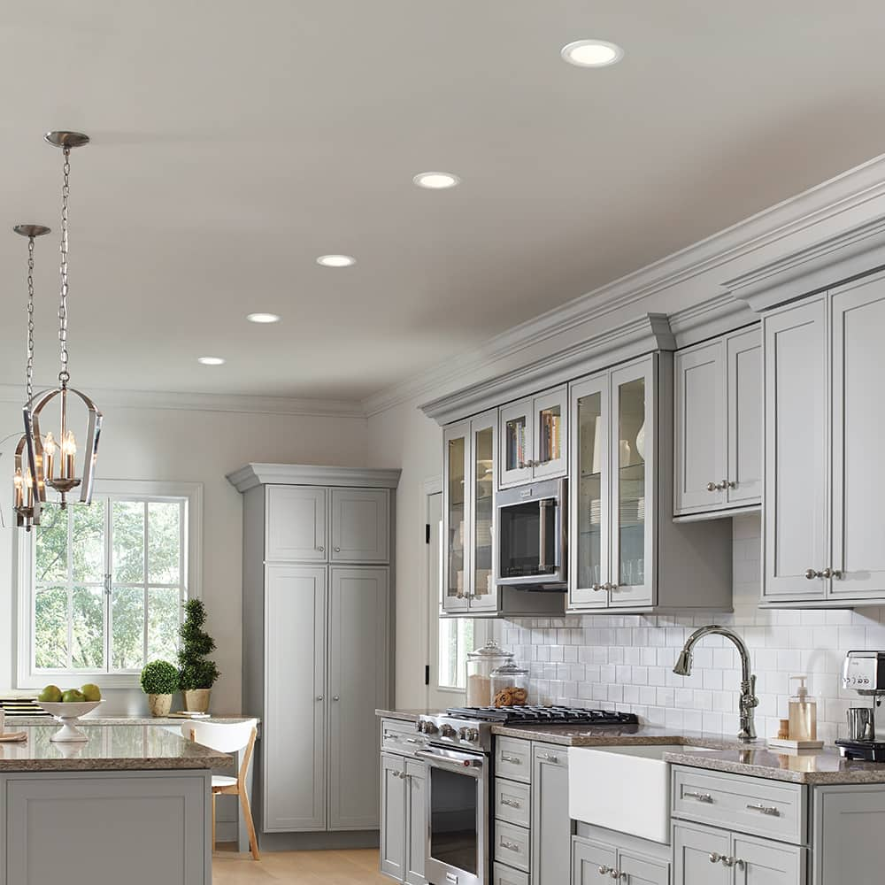 Recessed lighting in a modern style kitchen.