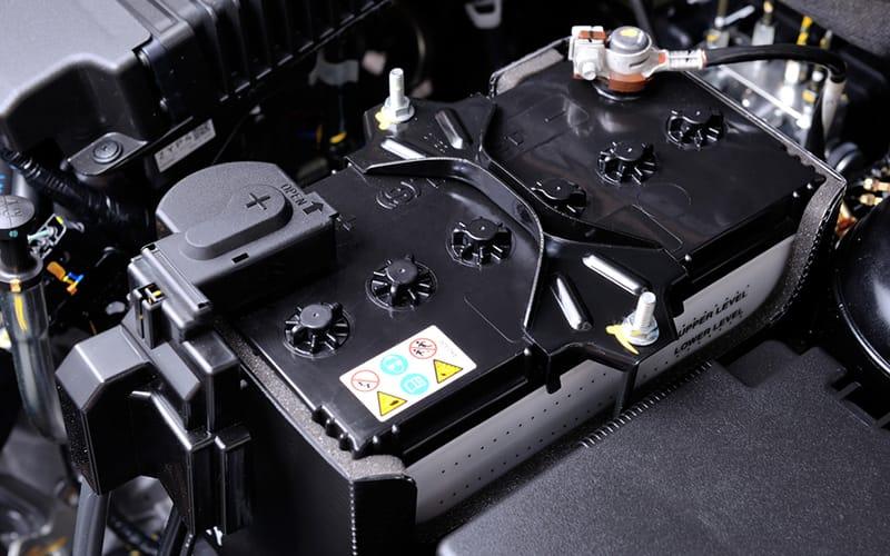 a close up of a car battery terminal