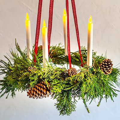 How to Make a Holiday Evergreen Chandelier