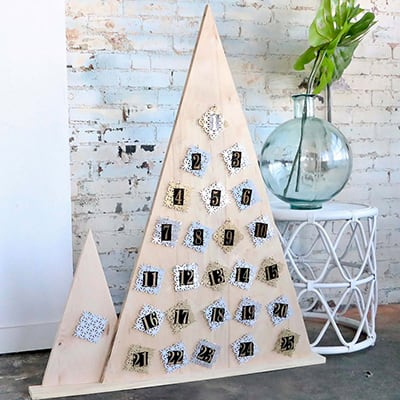 A finished advent calendar displayed in a room.