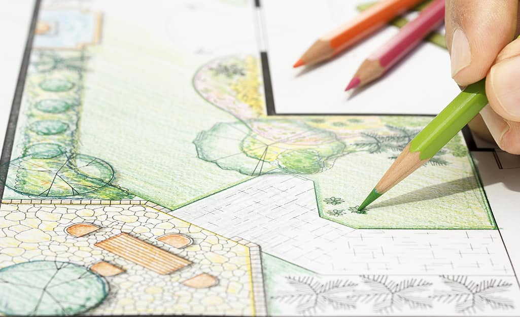 Someone making a sketch of a putting green.