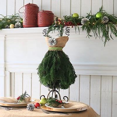 How to Make a Stylish Christmas Tree Dress Centerpiece