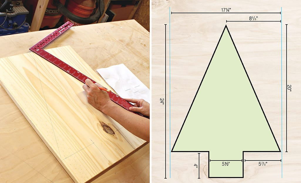A framing square is used to create a tree shape.