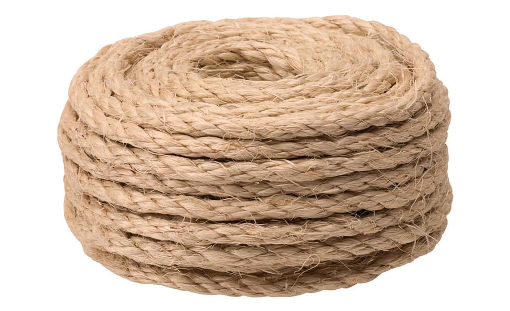 A coil of rope to be used to make a tree swing.