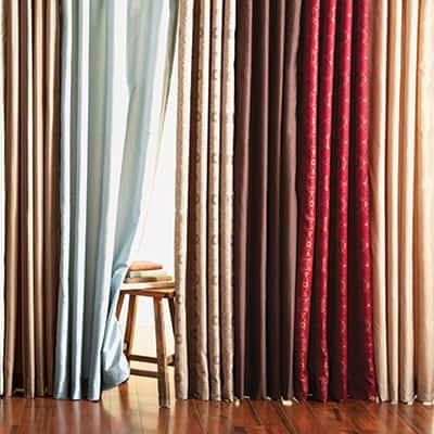 Hanging curtains in an array of colors