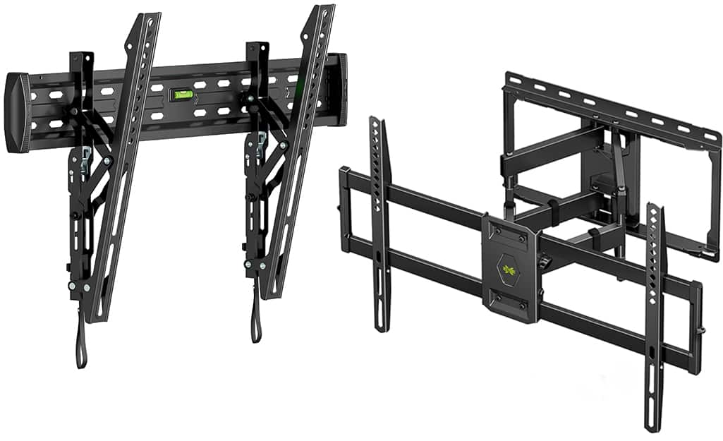 Two types of TV wall mounts displayed on a white background.