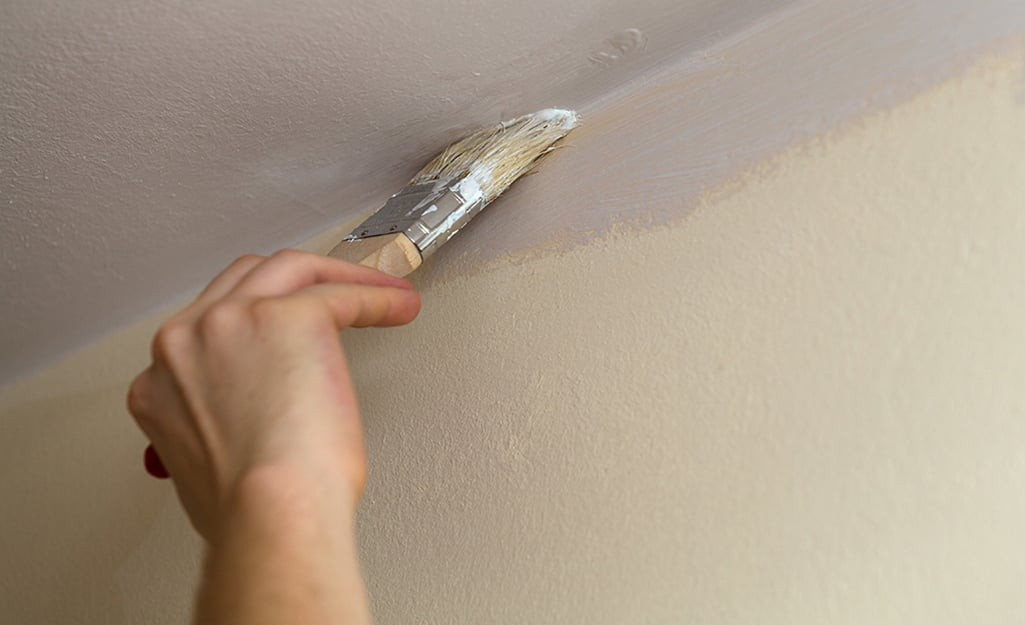 A person paints the edges where the ceiling meets the wall.
