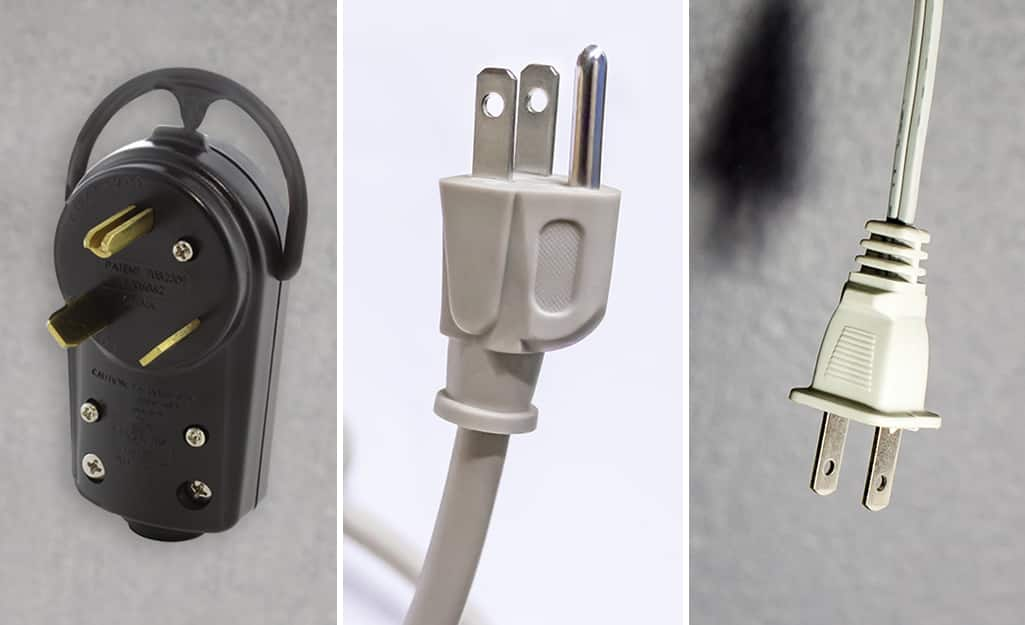 A terminal screw plug, a three-prong plug, and a self-connecting plug.