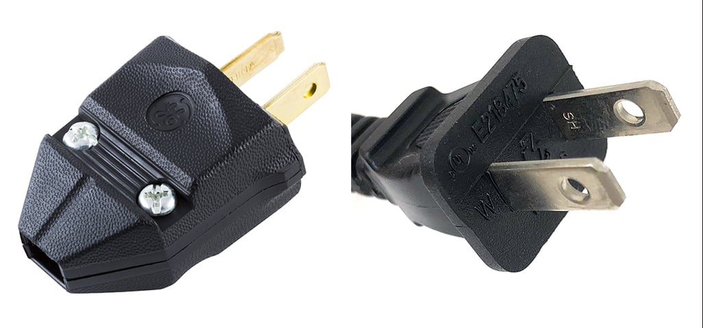 A polarized plug on the left and a non-polarized plug on the right.