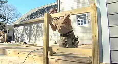 Remove damaged railing  - Replacing a Deck Railing
