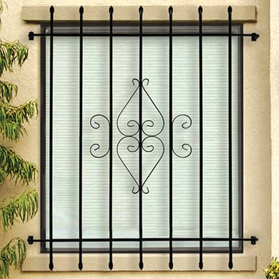 outdoor window with decorative security bars
