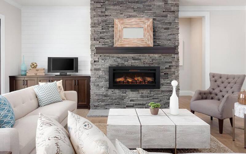 a living area featuring a rectangular fireplace insert