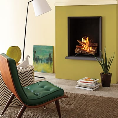 a living room featuring a fireplace insert