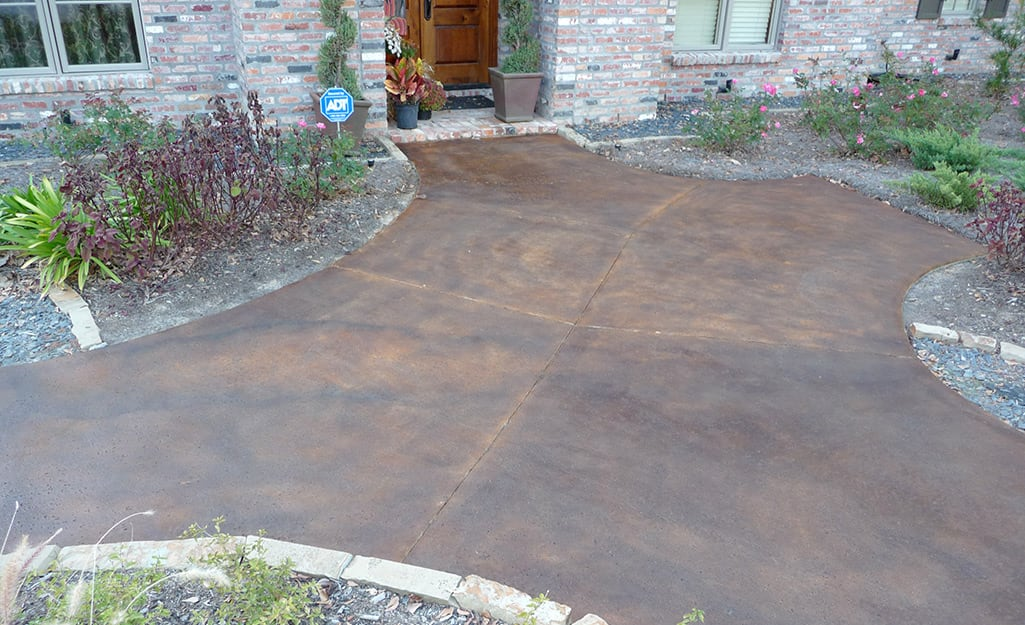 How To Stain Concrete The Home Depot, Staining Outdoor Concrete Floors
