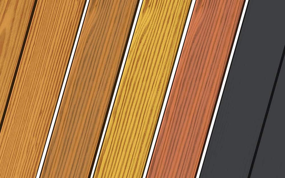 Different types of stains from transparent to dark.