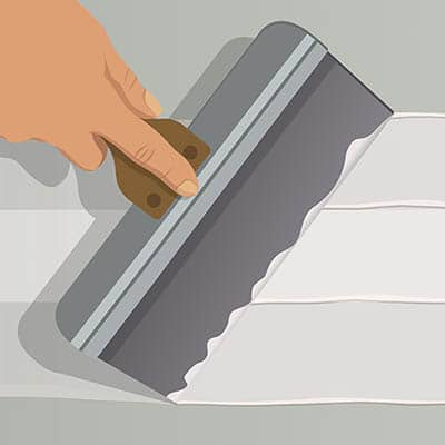Illustration of someone applying drywall joint compound on a wall.