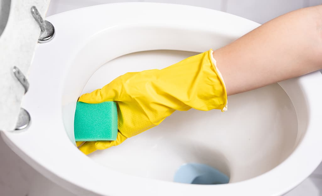 A person cleans the water jets at the edge of the toilet rim.