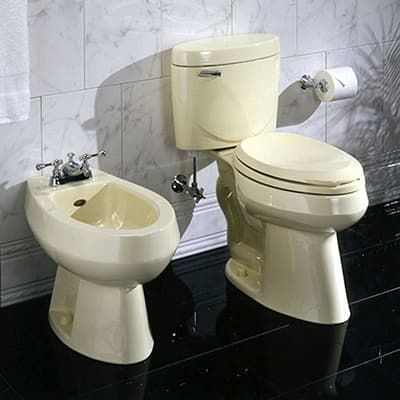 A bidet stands next to a matching toilet in a bathroom.