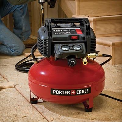 an air compressor in a workspace