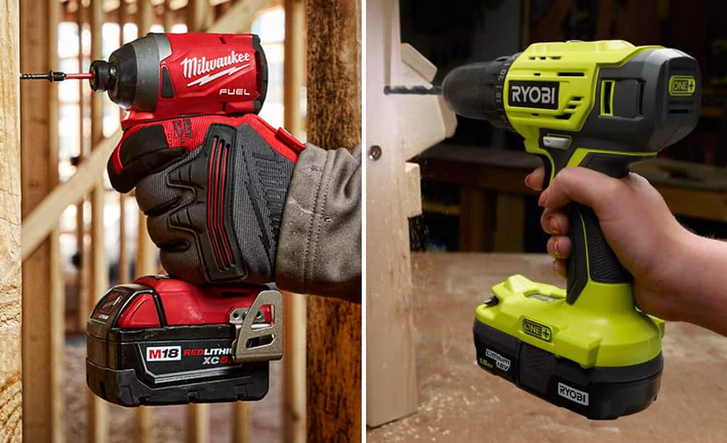 Side by side images of an impact driver and a power drill.