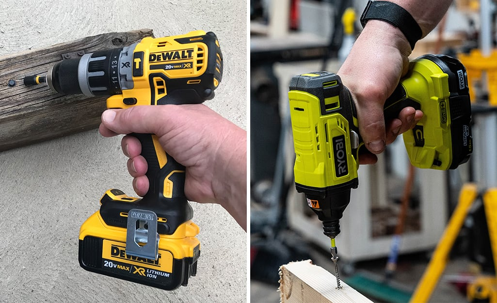 Side by side images of a hammer drill and an impact driver.