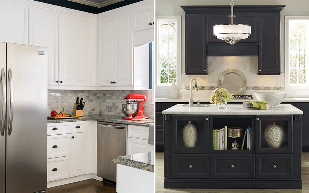a side-by-side comparison of two kitchens featuring stock and custom cabinets
