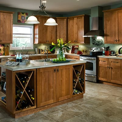 A traditional kitchen with wood cabinets.