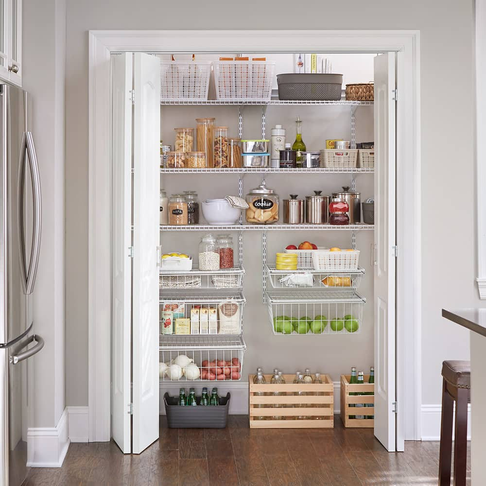 A neatly organized pantry in a kitchen.