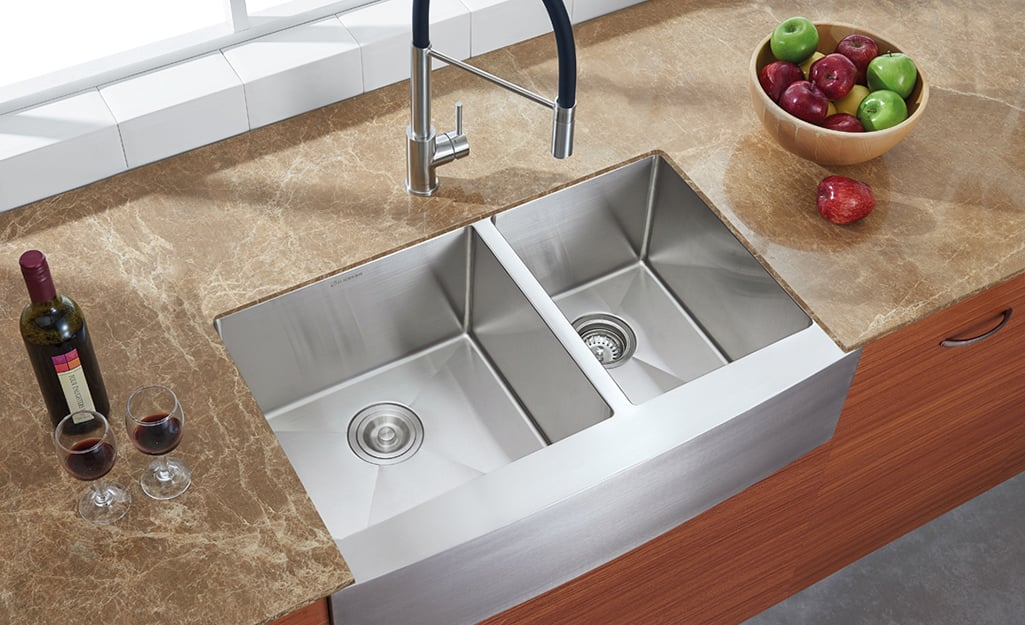 Types Of Kitchen Sinks The Home Depot, Kitchen Sink Size For 30 Inch Base Cabinet