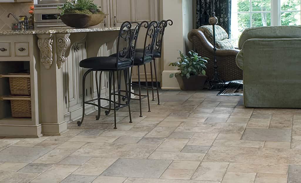 Types Of Laminate Flooring The Home Depot, Laminate Tile Flooring Kitchen