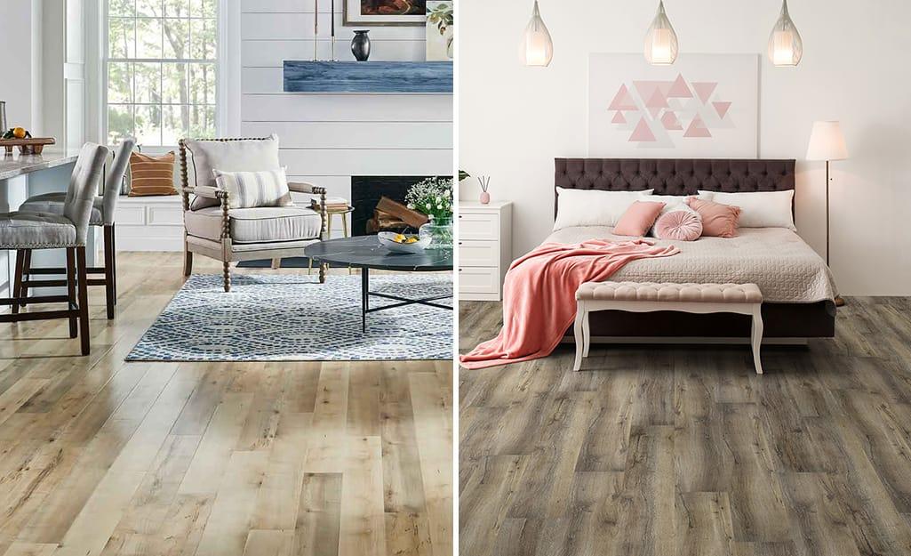 Laminate Vs Vinyl The Home Depot, Vinyl Vs Laminate Flooring Pros And Cons