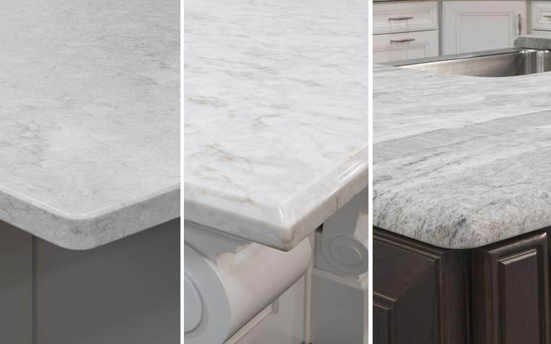Three types of countertop edges shown side-by-side.