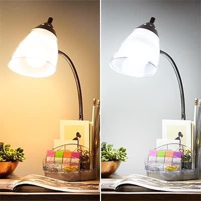 A desk lamp with two different bulbs displays color temperature.