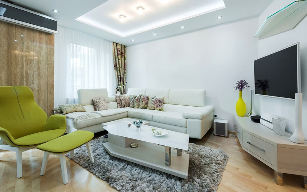 A living room featuring recessed lighting