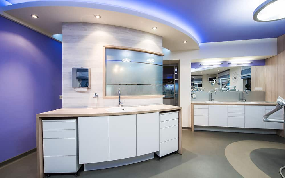 A commercial space featuring abundant lighting